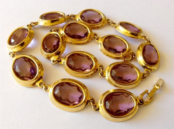 Beautiful 70s vintage crystal glass large open back bezel necklace, gold plated, very large amethyst bezel, in oval shape