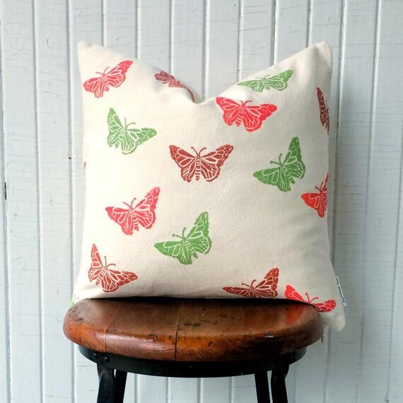 ORGANIC CANVAS pillow cover, girls decor, butterfly decor, butterfly pillow, butterfly lover, green and orange, ikea pillow cover, nature