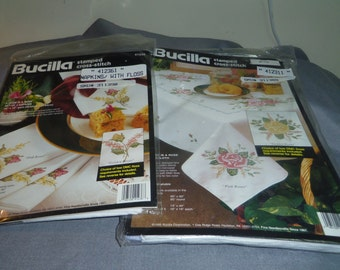 """Bucilla Stamped Cross Stitch Kit, Tablecloth 52"""" x 70"""" Golden Roses or Pink Roses plus 4 Napkins"""