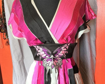 Upcycled Dress - Womens Pink Silk Dress - Romantic Funky Boho Clothing - Size Small