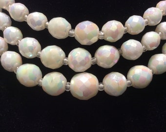 Multi Strand White Carnival Glass Necklace Hook and Chain Extender Clasp