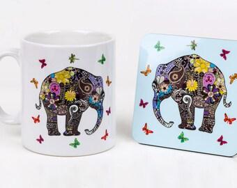 Elephant Mug - Elephant Art - Henna Design - Animal Gift - Elephant Gift - Butterfly Mug - Indian Art -  Henna Tattoo -  Fun  - Cool - Cute