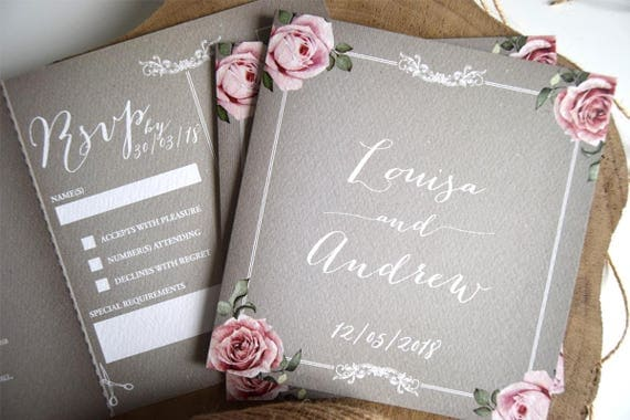 Rustic Wedding Invitation - Floral Grey
