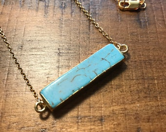 Turquoise bar necklace.Unique bar necklace.Turquoise necklace.Gold filled turquoise layering necklace.Bar necklace.Gift for her