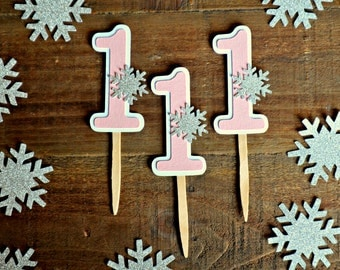 Winter Onederland Cupcake Toppers. Winter Wonderland Cupcake Toppers. Snowflake Cupcake Topper. Frozen Inspired Cupcake Toppers.