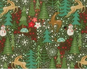 Forest in Dark Green from the Berry Merry Collection by BasicGrey for Moda, Christmas, Reindeer, Holiday