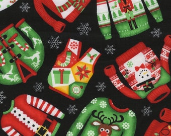 Merry Christmas Sweaters Cotton Fabric from Santas Little Helpers Collection by Timeless Treasures - Half Yard Only