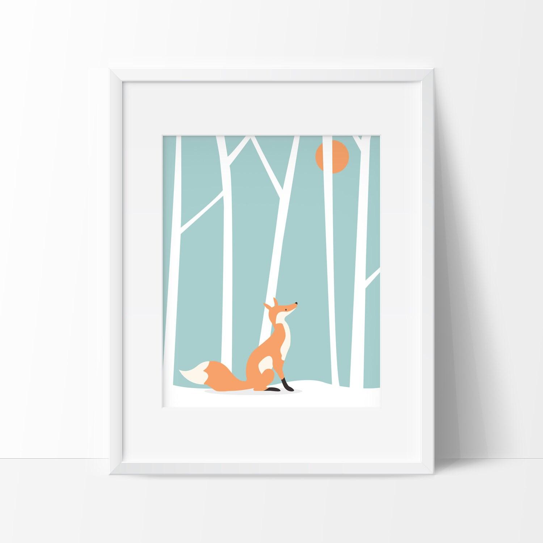 Affiche renard scandinave Poster renard imprimable Affiche