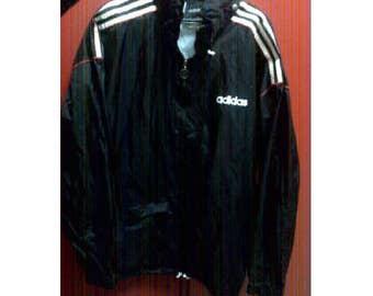 ADIDAS jacket, vintage full zip hip hop jacket of 90s hip-hop clothing, 1990s gangsta rap, old school windbreaker track run dmc size L Large