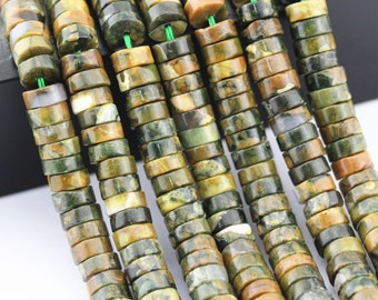 """Natural Rhyolite Round Disc Loose Beads Size:3X5mm/3x6mm/3X7mm 15.5"""" Long Per Strand.I-RHY-0341"""
