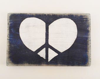 Peace sign Peace on Earth wood sign Blue Heart peace wooden sign True Love Rustic signs
