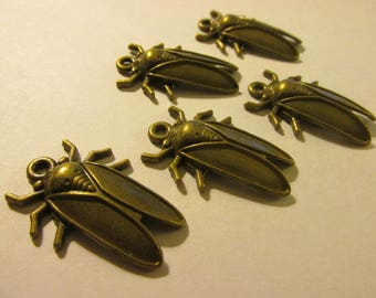 "Bronze Cicada Insect Charms, 1 1/4"", Set of 5"