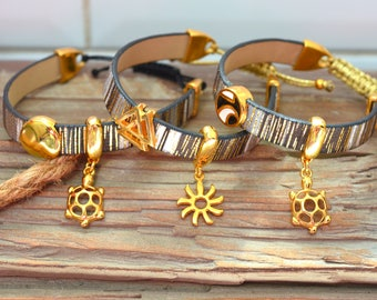 Lucky Leather Bracelet with Gold slider and gold charm, Delicate Leather Bracelet, Summer Gold bracelet, Lucky Leather Wrap Bracelet