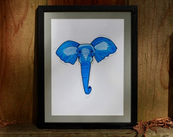 Elephant Portrait — Original Marker Art — Fine Art Print