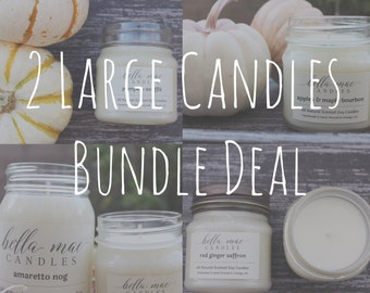 2 Large Candles Bundle Deal - All natural scented soy candles