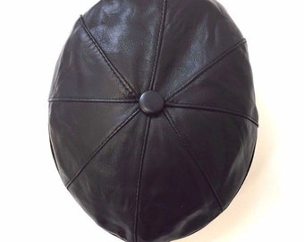 Genuine Leather 8-Panel Flat Cap with buttoned peak and central button
