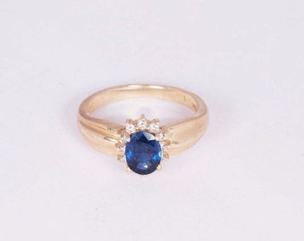14K Yellow Gold Sapphire and Diamond Chip Ring, size 6