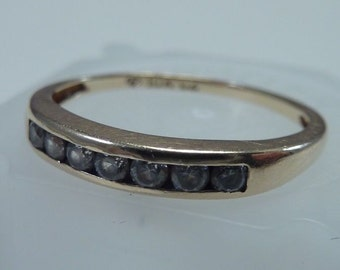 10K Yellow Gold Wedding/Anniversary Band with Cubic Zirconias size 6