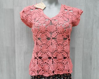 Summer Crochet Sleeveless Blouse, Crochet Tank Top, V Neck Blouse, V Neck Top, Side Slits Top, Summer Sleeveless Blouse Crochet Summer Top