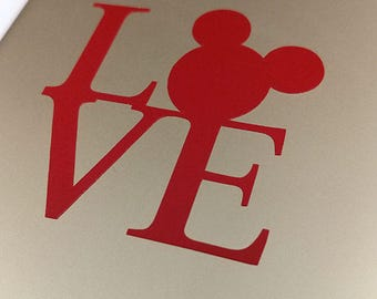 Disney LOVE Mickey Mouse Decal - Apple iPhone, Android Smartphone, Laptop