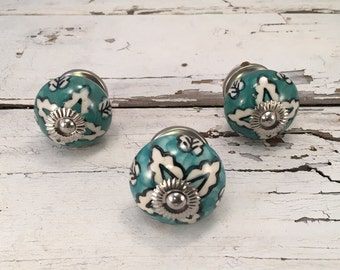 Knob, Teal & White Round Tomato Ceramic Hand Painted Knobs, Cabinet Furniture Drawer Pull Supply,Item #286332757
