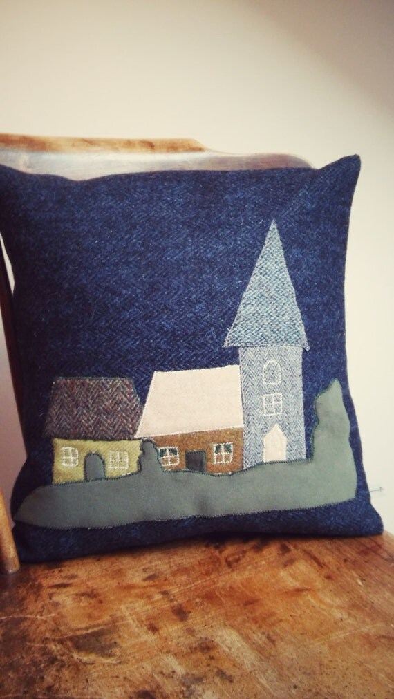 Hand Crafted Harris Tweed Village Design Cushion cover
