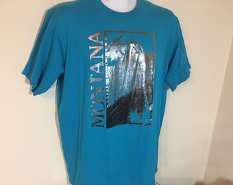 T-Shirt Adult xL- MONTANA - NEGATIVE IMAGE Print -Shiny Metallic Appearance  y