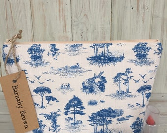 Toile de Jouy Make Up Bag,Cosmetic Bag,Toiletry Bag,Zipper Pouch,Pencil Case,Wash Bag, Purse, Accessory Bag,Toile de Jouy Fabric, Handmade.