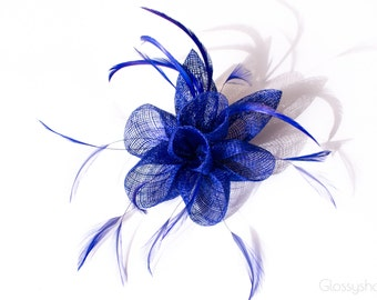 Intense Blue  Flower Feather  Fascinator Clip