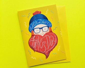 Bearded Fathers Day Card - Daddy Card - Fathers Day Beard Card - Hipster Beard Gift - Card For Dad - Hipster Dad Card - Mens Beard Card