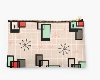 Retro Studio Pouch, Mid Century Purse, Mid Century Art, Modern Art,  Atomic, Retro, Abstract Purse, Pencil case