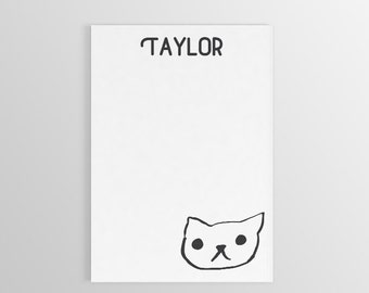 Custom Cat Notepad ~ Personalized Cat Notepad ~ Name Notepad ~ Stationary ~ Cat Lover Gift ~ Gift for Kids ~ Personalized Gift