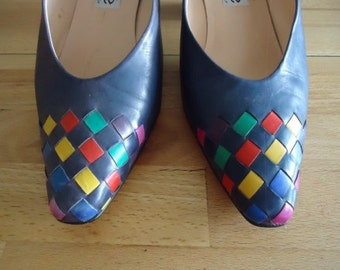 Maripé vintage pumps Blau real leather with braided patterns colorful GR 40.5 fine high-quality