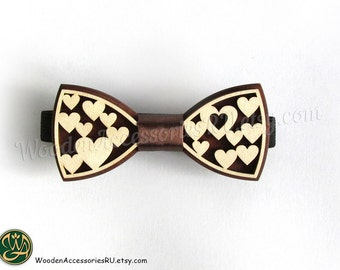 Wood bow tie Romance, wooden accessory with hearts
