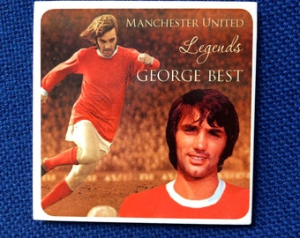 Great ceramic coaster featuring the legendary George Best of Manchester United