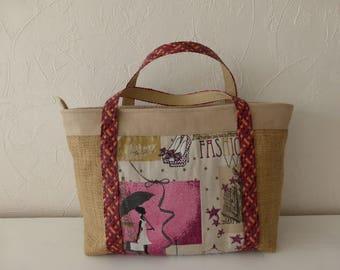 Handbag, Tote, canvas, fabric, jacquard, retro, romantic, couture, made hand