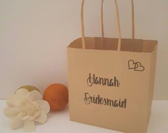 Personalised Gift Bag, Bridesmaid Gift Bag, Wedding Favour Bag, Personalised Cradft Bag, Maid of Honour Gift Bag, Personalised Paper Bag