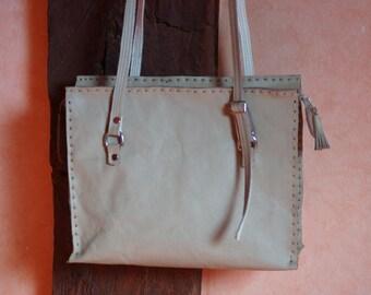 handbag leather beige and double