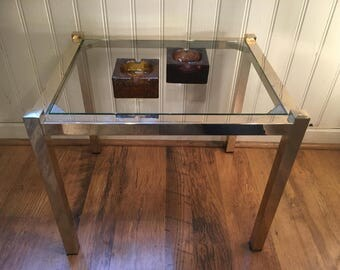 vintage glass coffee table structure in brass