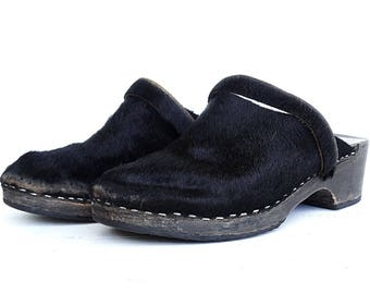 Pony skin fur shoes clogs wood black huaraches Swedish clogs size 8.5 leather clog mules vintage made in sweden