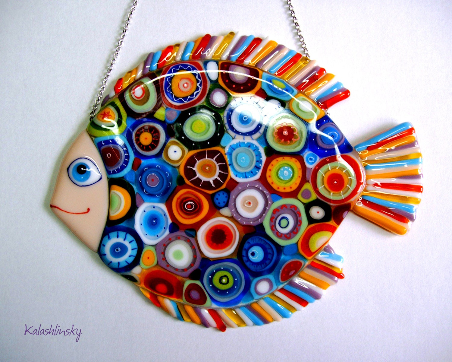 Fish Wall Sticker Fused Glass Wall Art Fused Glass Art Glass Art Abstract