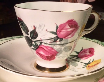 Pretty in Pink-Windsor Pedestal Teacup and Saucer