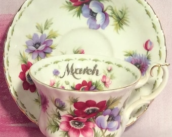 Pretty in Pink-Royal Albert Flower of the Month Series Anemones March Teacup and Saucer