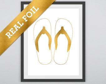 Flip Flops Print #1: A pair of Flip Flops printed in Real Gold Metallic Foil - Summer Prints - Beach - Salt Life - Fun - Nursery Wall Print