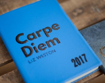Carpe Diem - personalised leather notebook - handmade real leather travel - promotion - mindfulness luxury notebook - perfect Christmas gift