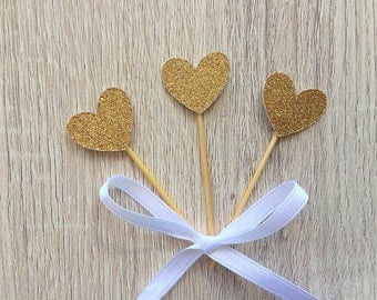 Set of 12 Gold glitter Heart Toppers - Food pick- heart toppers- cupcake toppers- heart shaped toppers- engagement toppers- bridal shower