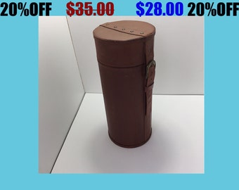 Vintage Cylindrical Lens Case Leather with Buckle