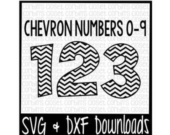 Chevron Numbers SVG * Chevron Pattern Cut File - SVG & DXF Files - Silhouette Cameo, Cricut