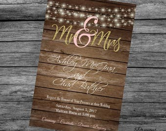 Rustic Glam Wedding Invitation