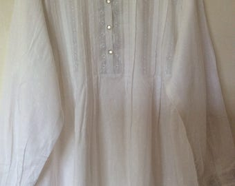 White Long Sleeve Night Gown with embroidery